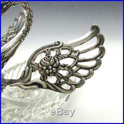 Vintage German. 835 Silver LARGE 5 Figural Swan Cut Crystal Master Salt Cellar