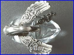 Vintage German Silver 835, Crystal Swan Salt Cellar With Original Spoon, Signed