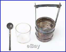 Vintage Japanese 950 Sterling Silver Salt Cellar & Pepper Shaker Set Buckets