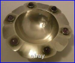 Vintage Mexico Sterling Silver & Amethyst Cabochon Footed Bowl Salt Cellar BIRDS