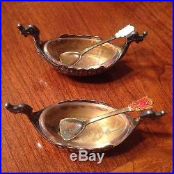 Vintage Norway Sterling Silver Viking Ship Salt Cellar & Pepper Dish With Spoons
