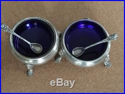 Vintage Pair Sterling Silver Salt Cellars with Cobalt Blue Glass Liners & Spoons