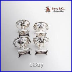 Vintage Ram Head Open Salt Dishes Set Footed Shreve Co Sterling Silver 1920