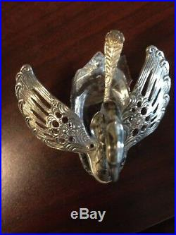 Vintage Silver And Crystal Swan Salt Cellar With Spoon. Set Of 4
