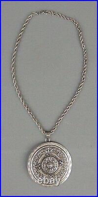 Vintage Sterling Silver 925 Mexico EMF Large Aztec Calendar Pendant Necklace