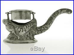 Vintage Sterling Silver 925 dragon Incent Burner Holder salt cellar Vietnam USSR