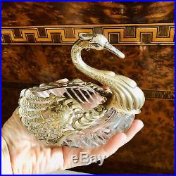 Vintage Sterling Silver Crystal XLG Swan Open Salt / Condiment Cellar 6 Long
