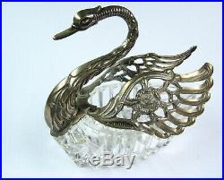 Vintage Sterling Silver & Cut Crystal Swan Salt Dish Cellar German 835 Hallmark