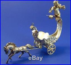 Vintage Sterling Silver Horse Drawn Chariot with Winged Cherub Salt Cellar