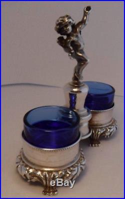 Vintage Sterling Silver Italian Italy FIGURAL CHERUB DOUBLE SALT CELLAR cobalt