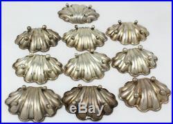 Vintage Sterling Silver Shell Shape Footed Salt Cellars Set of 10