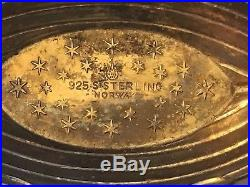 Vintage Theodor Olsens Norway Sterling Silver Open Salt Red Enamel Viking Ship