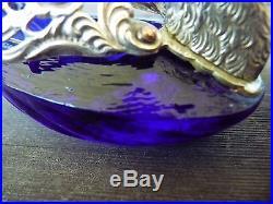 Vintage Three Piece Set Cobalt Blue Swan Salt Cellars With Spoons & Salt Dipper