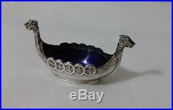 Vintage Viking Ship Sterling Silver Cobalt Blue Glass Insert Salt Cellar Sweden