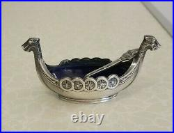 Vintage Viking Ship Sterling Silver Cobalt Blue Glass Salt Cellar Sweden & Spoon