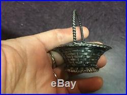 Vintage antique Simons Bros Sterling Silver Sewing Basket salt cellar pin dish