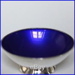 Volmer Bahner Blue Enamel Sterling Silver Pepper Shaker Salt Cellar Danish MCM