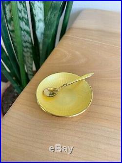 Vtg David Andersen Gilt Sterling 2.5 Guilloche Enamel Salt Bowl Spoon Norway
