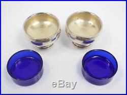 Vtg Pair of Frank M Whiting Sterling Silver & Cobalt Glass Insert Salt Cellars