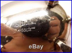 Vtg Sterling Silver Adie Bros Cobalt Blue Glass Salt Cellar Mustard Pot Set