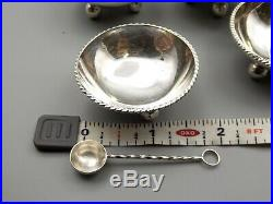 Vtg Sterling Silver Salt Cellar Spoon Set of 5 Anton Plata Mexico Individual