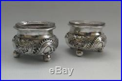 Vtg c1900 Wang Hing Chinese Export Solid Silver Dragon Open Salt Cellar & Liners