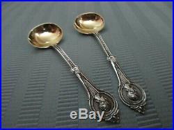 WOOD & HUGHES Medallion 2 Salt Cellar Dip 2 Salt Spoon SET Coin SILVER. 900