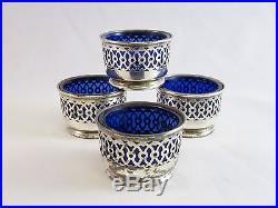 Webster Sterling Silver & Cobalt Blue Glass Salt Cellars Lot Of 4