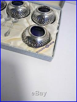 Webster Sterling Silver Cobalt Glass Salt Cellars with Sterling Spoons in Box