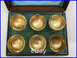 Whiting Sterling Silver Individual Salt Cellars Gold Wash Bowls SET OF 6
