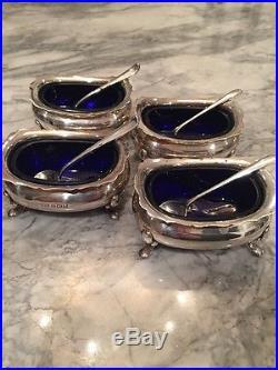 Wm Suckling Ltd Birm. Sterling Silver 1930 4 Salt Cellars & Spoons Tiffany & Co