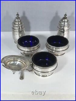 Z Barraclough & Sons Sterling Salt Cellar Pepper & Mustard Pot 5 Piece Set 1923